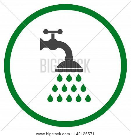Shower Tap vector icon. Style is bicolor flat rounded iconic symbol, shower tap icon is drawn with green and gray colors on a white background.