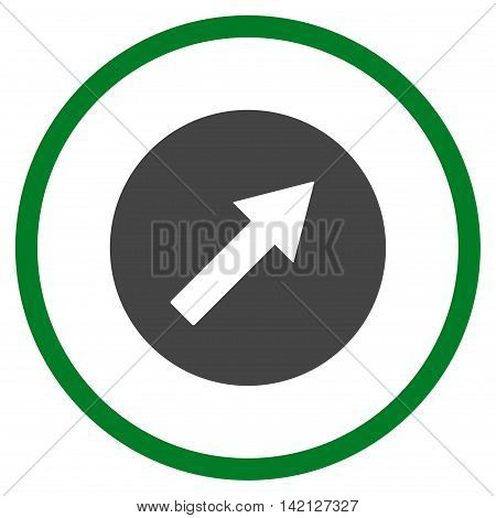 Up-Right Rounded Arrow vector icon. Style is bicolor flat rounded iconic symbol, up-right rounded arrow icon is drawn with green and gray colors on a white background.