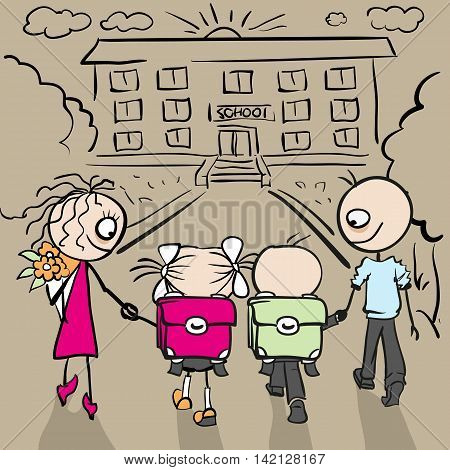 Parents and children are going to school. Cartoon illustration