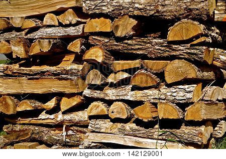 A stacked pile of split firewood drying in storage