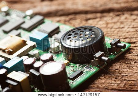 abstract circuit board of old modem, old electronics