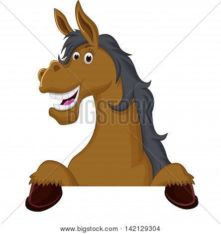 Funny horse cartoon with a blank sign