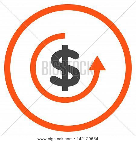 Refund vector icon. Style is bicolor flat rounded iconic symbol, refund icon is drawn with orange and gray colors on a white background.
