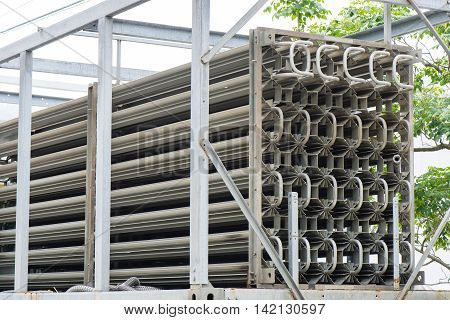 closeup details of industrial heat exchangers system