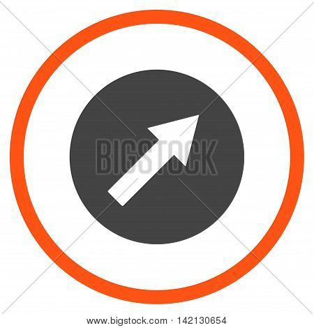 Up-Right Rounded Arrow vector icon. Style is bicolor flat rounded iconic symbol, up-right rounded arrow icon is drawn with orange and gray colors on a white background.