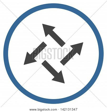 Centrifugal Arrows vector icon. Style is bicolor flat rounded iconic symbol, centrifugal arrows icon is drawn with cobalt and gray colors on a white background.