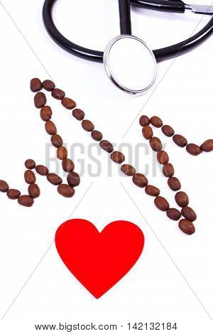 Cardiogram Line Of Coffee Grains, Red Heart And Stethoscope, Medicine And Healthcare Concept