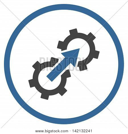 Gear Integration vector icon. Style is bicolor flat rounded iconic symbol, gear integration icon is drawn with cobalt and gray colors on a white background.