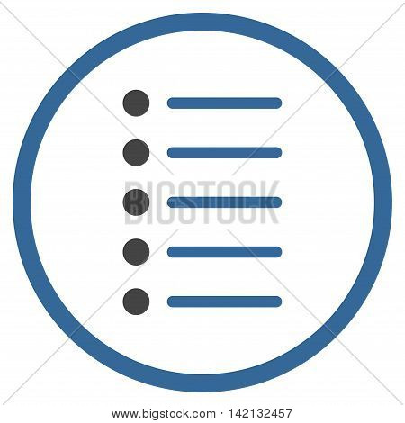 Items vector icon. Style is bicolor flat rounded iconic symbol, items icon is drawn with cobalt and gray colors on a white background.