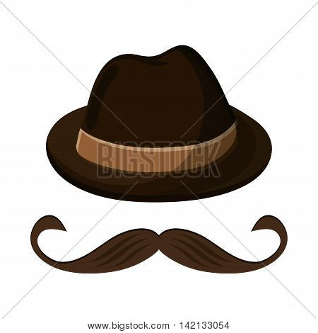 flat design hat and mustache icon vector illustration