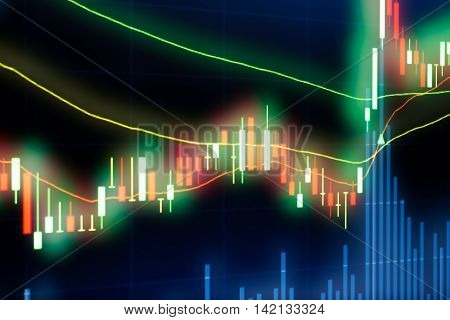 Stock market chartStock market data on LED display concept.