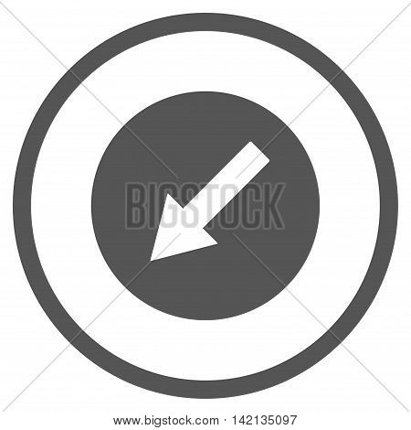Down-Left Rounded Arrow vector icon. Style is flat rounded iconic symbol, down-left rounded arrow icon is drawn with gray color on a white background.