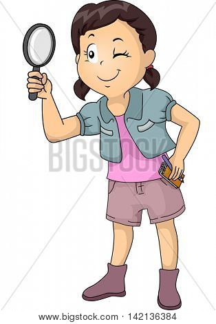 Illustration of a Little Girl Carrying a Notepad Using a Magnifying Glass