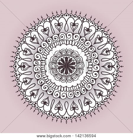 Round Pattern Mandala. Floral round pattern for the greeting cards invitation template frame design business style cards tattoo template or else. Vector illustration