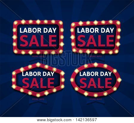 Set of banners for labor day sale. Retro labels with glowing lamps. Vector illustration with shining lights in vintage style.