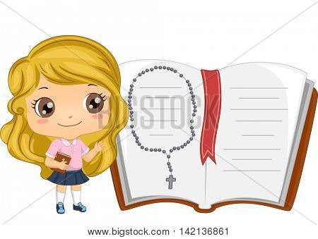 Illustration of a Little Girl Standing Beside a Giant Bible with a Rosary in It
