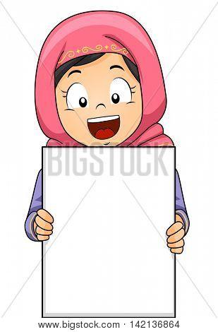 Illustration of a Muslim Girl Wearing a Headscarf Holding a Blank Board