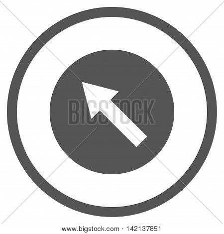 Up-Left Rounded Arrow vector icon. Style is flat rounded iconic symbol, up-left rounded arrow icon is drawn with gray color on a white background.