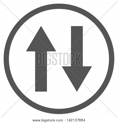Vertical Flip Arrows vector icon. Style is flat rounded iconic symbol, vertical flip arrows icon is drawn with gray color on a white background.