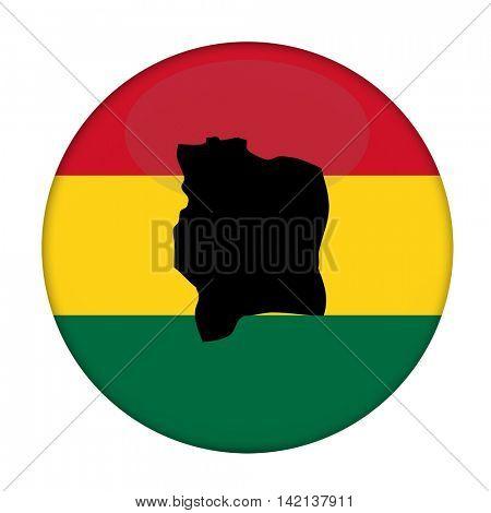 Ivory Coast map on a Rastafarian flag button, white background.