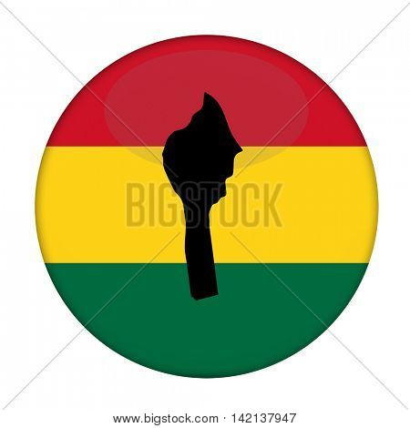 Benin map on a Rastafarian flag button, white background.