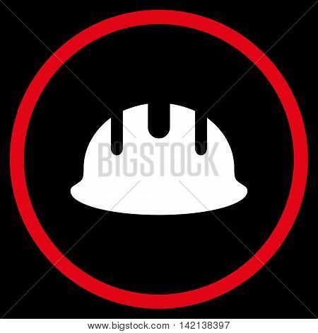 Builder Hardhat vector icon. Style is bicolor flat rounded iconic symbol, builder hardhat icon is drawn with red and white colors on a black background.