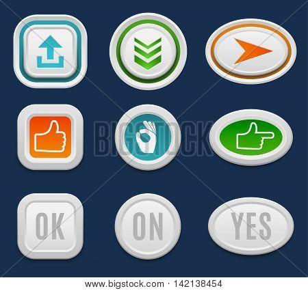 Set of interface buttons ok, cancel, yes, no. Vector internet web buttons set. Website accept web ui ux buttons iconsconcept. Web elements