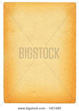 Sheet Of Old Stained Paper Isolated On Pure White