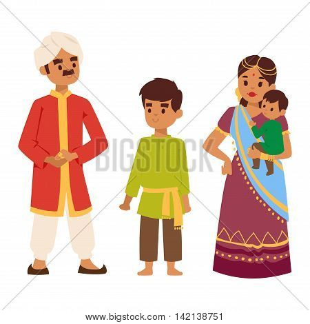 Vector illustration of Indian culture family people standing together figure. Indian people happy together person. Ethnicity cheerful casual Indian family people, traditional character.