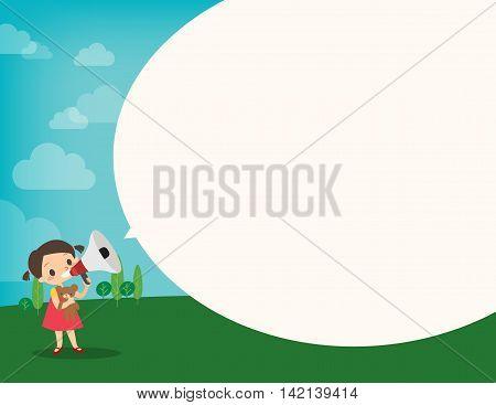 little girl on megaphone make an announcement with bubble speech cartoon vector illustration