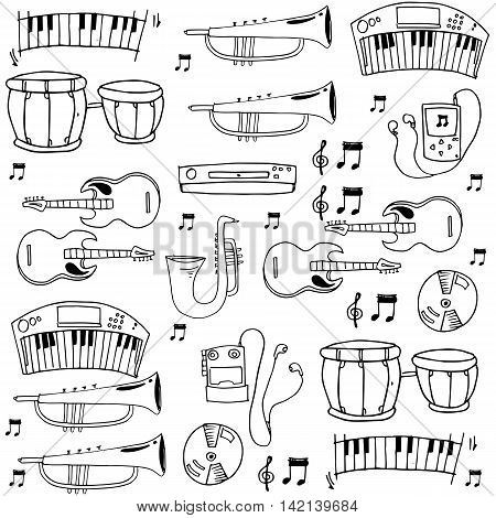 Element music pack doodles stock vector collection