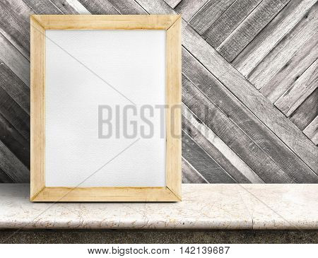 Blank Paper White Board On Marble Table At Diagonal Wooden Wall,template Mock Up For Adding Your Des