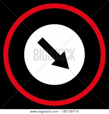 Down-Right Rounded Arrow vector icon. Style is bicolor flat rounded iconic symbol, down-right rounded arrow icon is drawn with red and white colors on a black background.