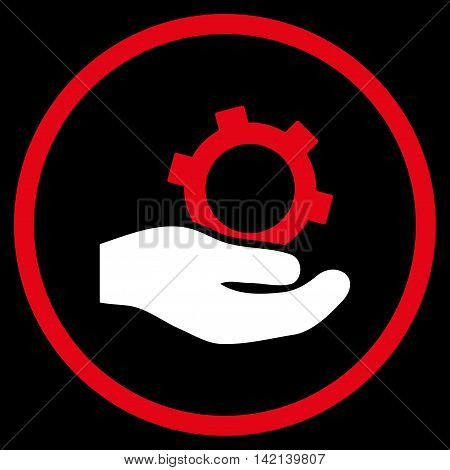 Engineering Service vector icon. Style is bicolor flat rounded iconic symbol, engineering service icon is drawn with red and white colors on a black background.