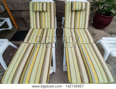 Lounge chairs in the garden, new chairs