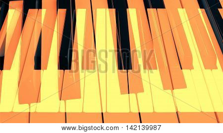 Abstract image of piano keys with double exposure
