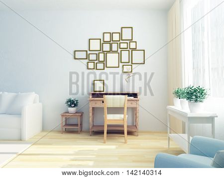 3D illustration of light white interior of modern nice sitting room with cozy work place, vintge table, plants, cozy white sofa. Scandinavian style