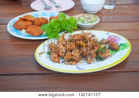 Fried Chicken and Chili Sauce Thai Northern Style Food