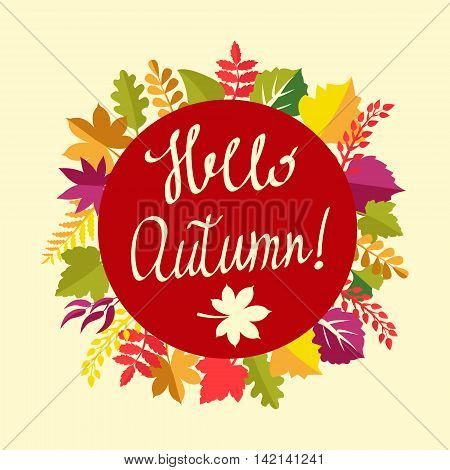 Hello autumn painted brush lettering for your designs: t-shirts for posters invitations cards. Autumn floral frame with leaves and text hello autumn.