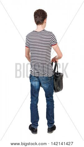 Back view of man with  with a bag. Rear view people collection.  backside view of person.  Isolated over white background. Curly boy in a striped vest holding a bag in his hand and looking ahead.