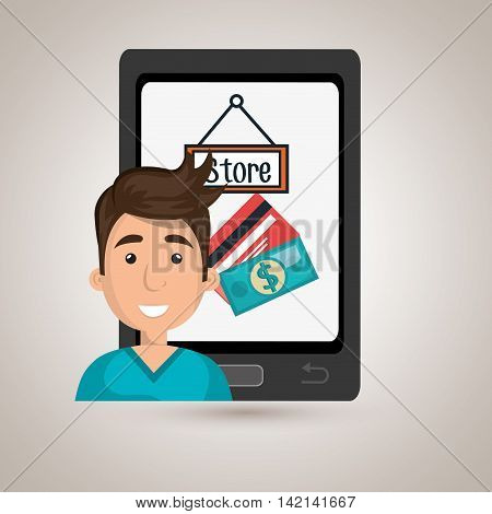 man cellphone credit card vector illustration graphic