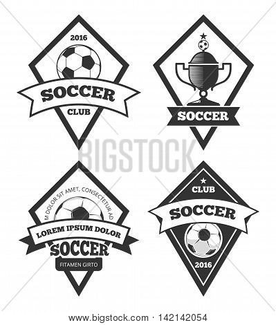 Soccer logo templates collection isolated white. Soccer or football team label, vector illustration