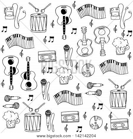 flat music hand draw in doodles vector illustration