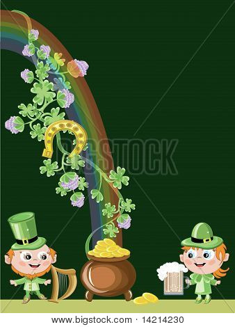 St patrick's day,leprechauns and gold pot