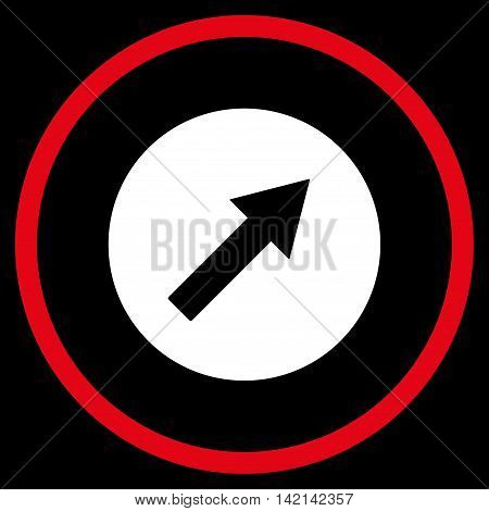 Up-Right Rounded Arrow vector icon. Style is bicolor flat rounded iconic symbol, up-right rounded arrow icon is drawn with red and white colors on a black background.