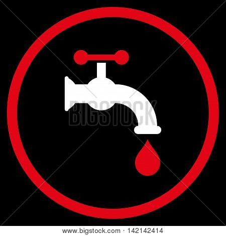 Water Tap vector icon. Style is bicolor flat rounded iconic symbol, water tap icon is drawn with red and white colors on a black background.