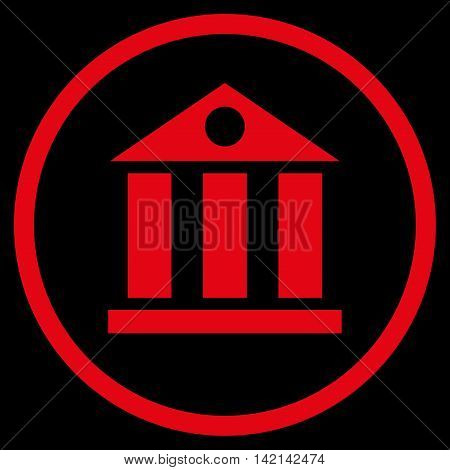 Bank Building vector icon. Style is flat rounded iconic symbol, bank building icon is drawn with red color on a black background.