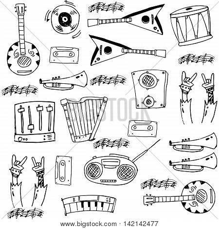 Element music doodles theme stock collection vector