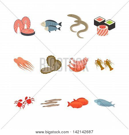 Seafood icon set isolated on white. Vector illustration