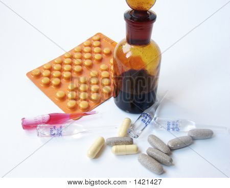 Set Of Drugs On White